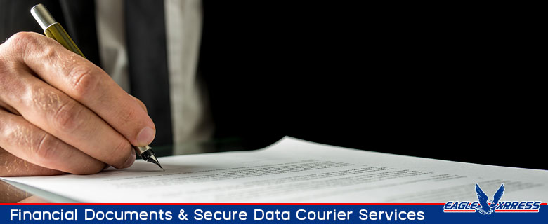 Financial documents and secure data courier services